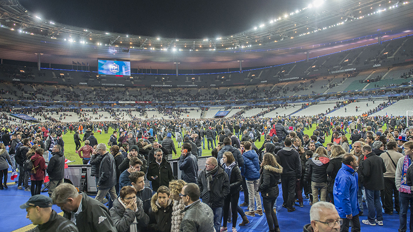 At Stade de France   We had no idea at the time what it was     Attendees run in panic onto the pitch during the International friendly  match between France and Germany