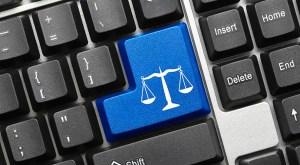 Conceptual keyboard - Law symbol (blue key)