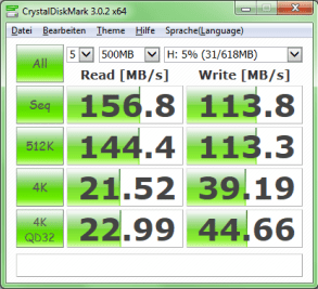 CrystalDiskMark (Windows) über USB 3.0
