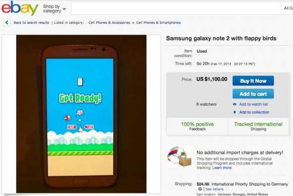 Galaxy Note 2 mit Flappy Bird