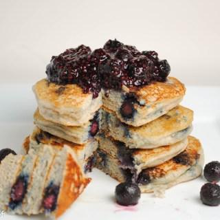 Blueberry Chia Protein Pancakes