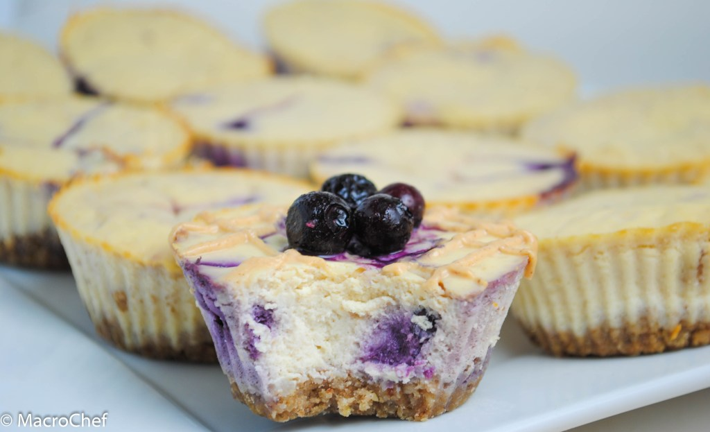 Blueberry Peanut Butter Protein Cheesecakes