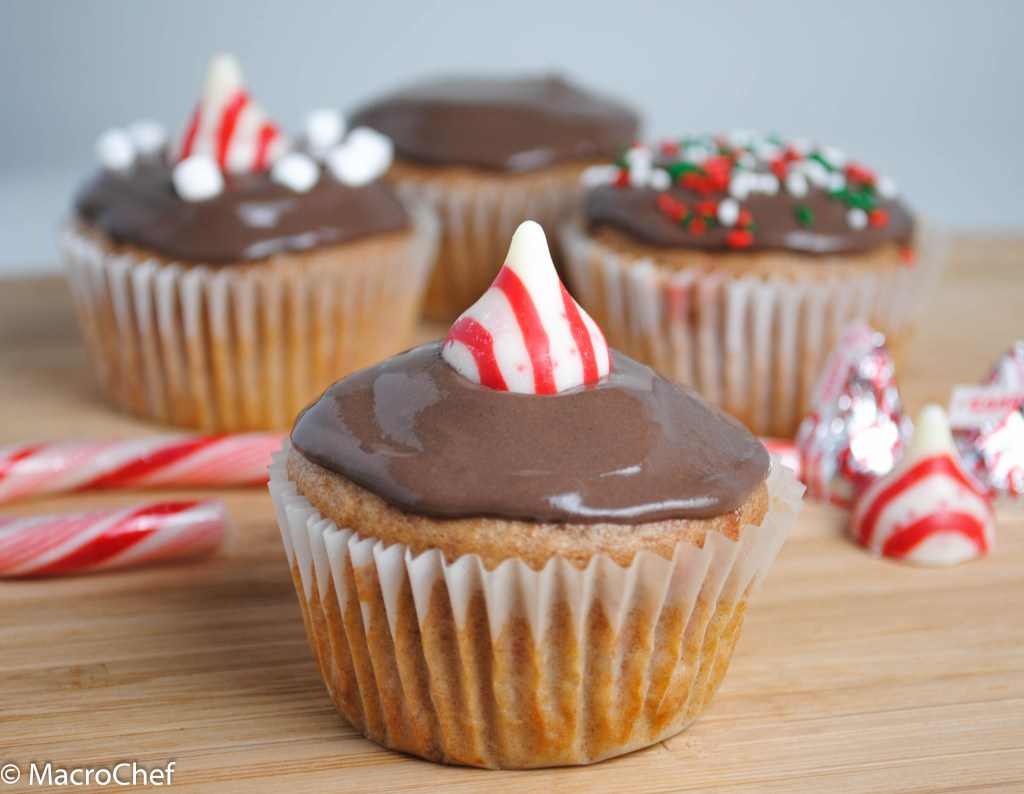 Peppermint Hot Chocolate Protein Cupcakes | MacroChef