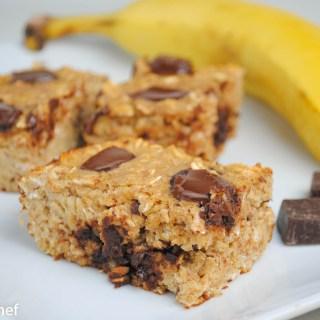 Banana Chocolate Chunk Baked Oatmeal Bars