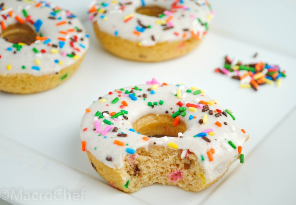 ... bake with me so today she helped me make these confetti protein donuts