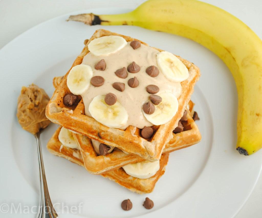 Peanut Butter Banana Chocolate Chunk Waffles | MacroChef