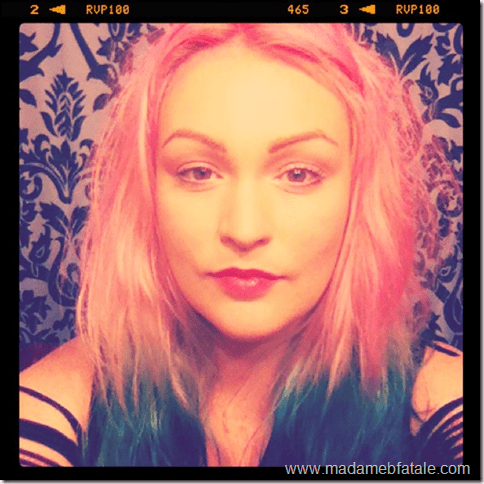pink hair with blue dip dyed ends