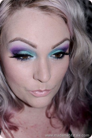 aqua purple dramatic bright eye makeup