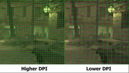 Comparación de un DPI alto y bajo.
