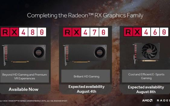 AMD revela fechas y especificaciones para la Radeon RX 470 y Radeon RX 460