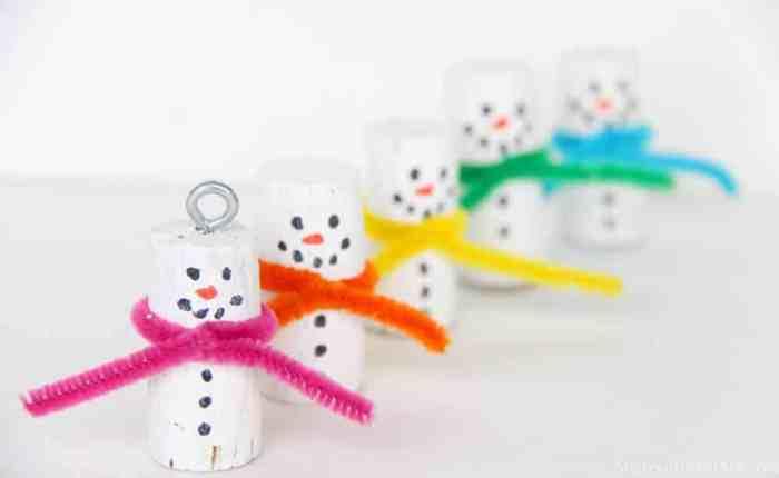 Cork Snowman Ornaments
