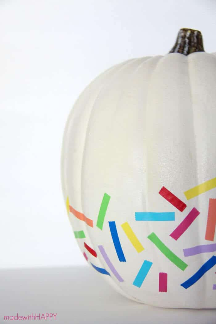 Washi Tape Pumpkin | No Carve Pumpkin | Rainbow Pumpkin | HAPPY Pumpkins | www.madewithhappy.com