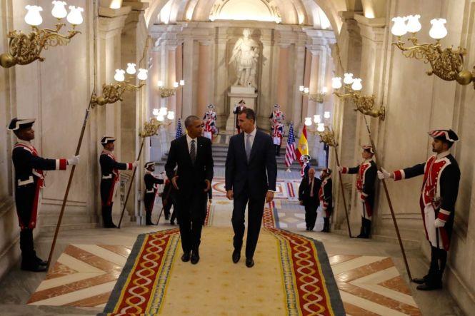 Obama y Felipe VI en el Palacio Real