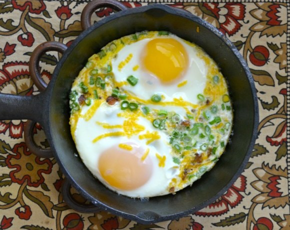 Cheddar Baked Eggs for One
