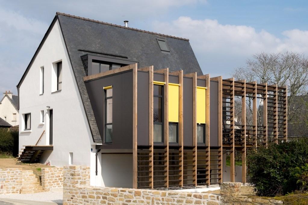 Maison arradon extension bois sur maison bretonne for Extension maison sur une terrasse