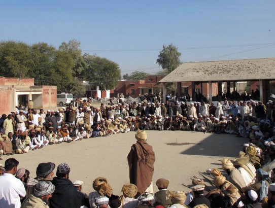 epa02502687 Elders of the Mehsud tribe, attend a Jirga, a centuries old tribal mechanism to resolve disputes, in Tank, a town neighboring south-Waziristran tribal region near the Afghan border in Pakistan on 20 December 2010. Mehsud tribesmen gathered to highlight problems being faced by the persons displaced from the South-Waziristan tribal area near the Afghan border where the Pakistani military has been engaged in an operation against Taliban militants. Pakistani troops have claimed to have taken control of the South Waziristan district that is considered to be a safe haven for Taliban and Al-Qaeda militants.  EPA/SAOOD REHMAN