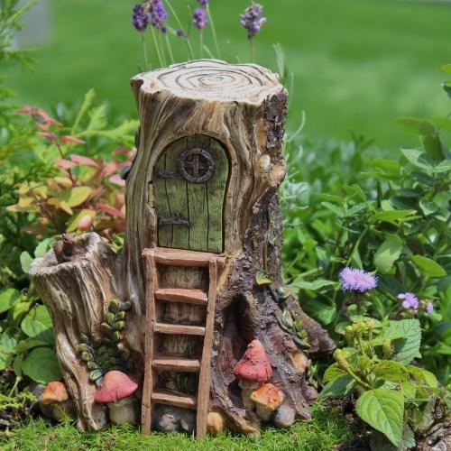 Sweet Miniature Hollow Wood Hut Tree Stump Fairy House Fairy Gardens Hinged Door Artificial Miniature Trees Fairy Gardens Tiny Trees Hinged Door Miniature Hollow Wood Hut Tree Stump Fairy House