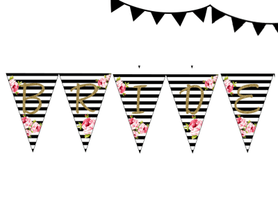 Black Stripes Bridal Shower Pennant, Wedding Shower Bunting PNN01, BS10