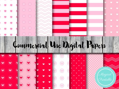Pink and Red Love, Hearts Digital Papers, Valentine's Digital Papers dp32