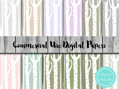 birch tree digital papers woodland digital paper rustic dp82