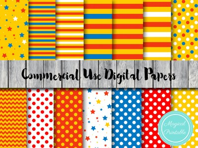 circus digital papers, carnival digital papers, dp23, instant download digital scrapbook papers