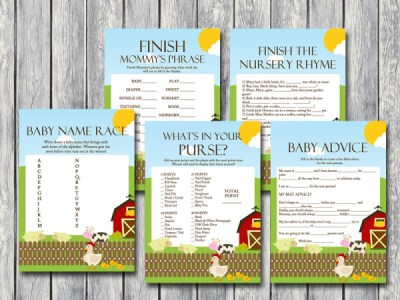 farm animals baby shower games