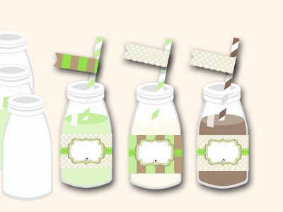 free green baby shower bottle wrappers and matching flag toppers