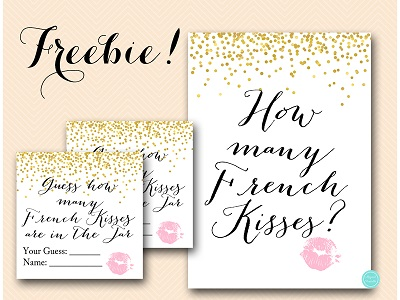 how-many-french-kisses-pink-GOLD Confetti hens party game bachelorette