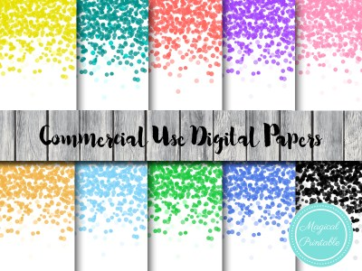 rainbow confetti digital papers, confetti background, confetti scrapbooking