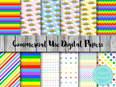 rainbow digital papers, colorful digital papers, hot air balloon digital papers, Sunshine digital papers DP29