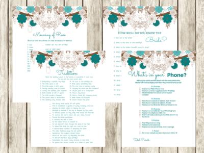 teal Bridal Shower Games Activities