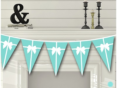 TLC47 Bunting Tiffany Baby Shower Decoration Banner Printable