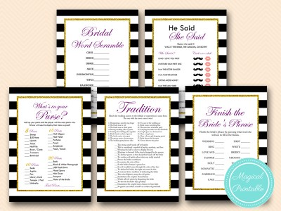 purple and gold glitter bridal shower games pack bs153