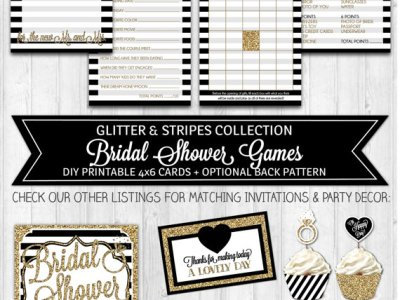 Black & Gold Glitter Black White Shower Activities, Bridal Shower Advice Card
