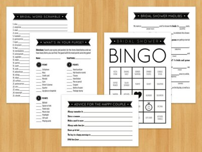 Bridal Shower Games, Bingo, MadLibs, Advice Cards, Word Scramble & What's in Your Purse, Black and White