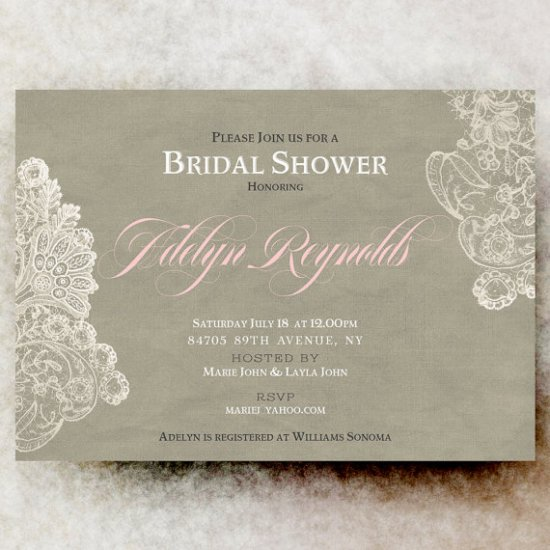 Bridal Shower Invitation - Rustic bridal shower, lace bridal shower, blush bridal shower, beige bridal shower, Shabby chic