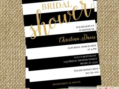 Gold Confetti Glitter Bridal Shower Invitation Modern Black White Stripes