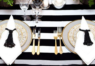 Modern, Black and White Stripe Tablecloth