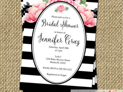 Peony Black White Bridal Shower Invitation Modern Chic Stripes