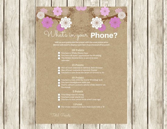 Purple Modern What's in your Phone Bridal shower game, Modern bridal Shower Games, Printable bridal shower