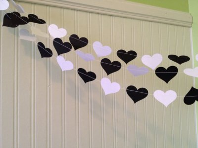 black and white Paper heart Garland