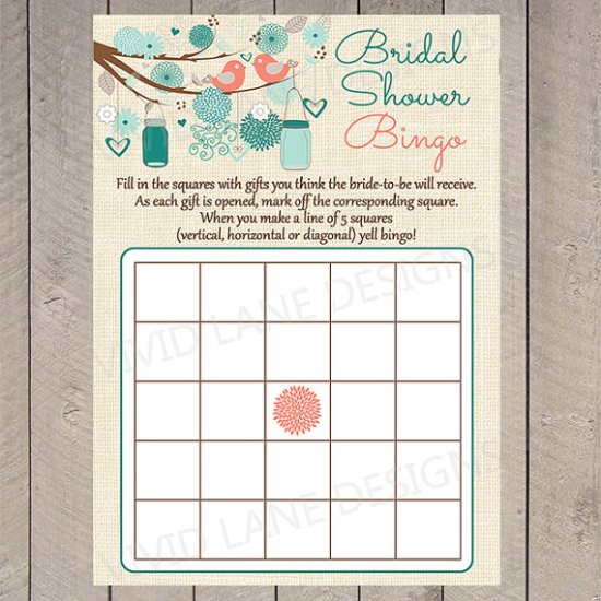 ridal Shower Bingo Card, Love Birds and Mason Jars, Bridal Shower Game, Teal and Coral, Flowers, Vintage Burlap