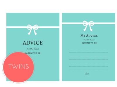 Tiffany Advice for Twins Mommy To be Cards