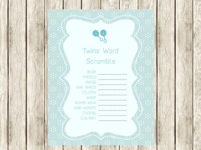 Twins Word Scramble Games – Twin Boys
