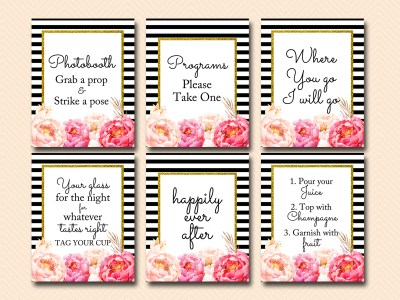 black and white stripes, peonies wedding signs, bridal shower signs, cards and gifts, happily ever after sign sn23
