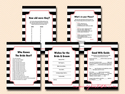 chic bridal shower game package, printable bridal shower games, instant download, parisian bridal shower games, oh laa laa, chic pink, black stripes, chanel bridal shower games, bs99