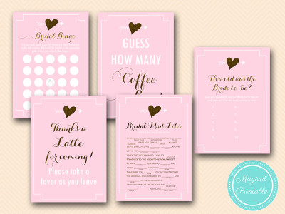 coffee bridal shower games pack instant download latte