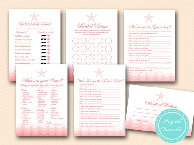 coral beach bridal shower game printable, coral nautical theme