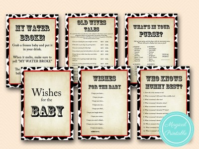 cowboy baby shower games, ase, australian english version