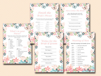 floral, butterfly bridal shower game pack, printable bridal shower games, instant download, bs105, outdoor bridal shower games, printable games, romantic bridal